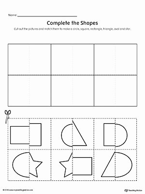 Cutting Shapes Worksheets for Preschoolers Lovely Match Shapes Cut and Paste Rectangle Star Square