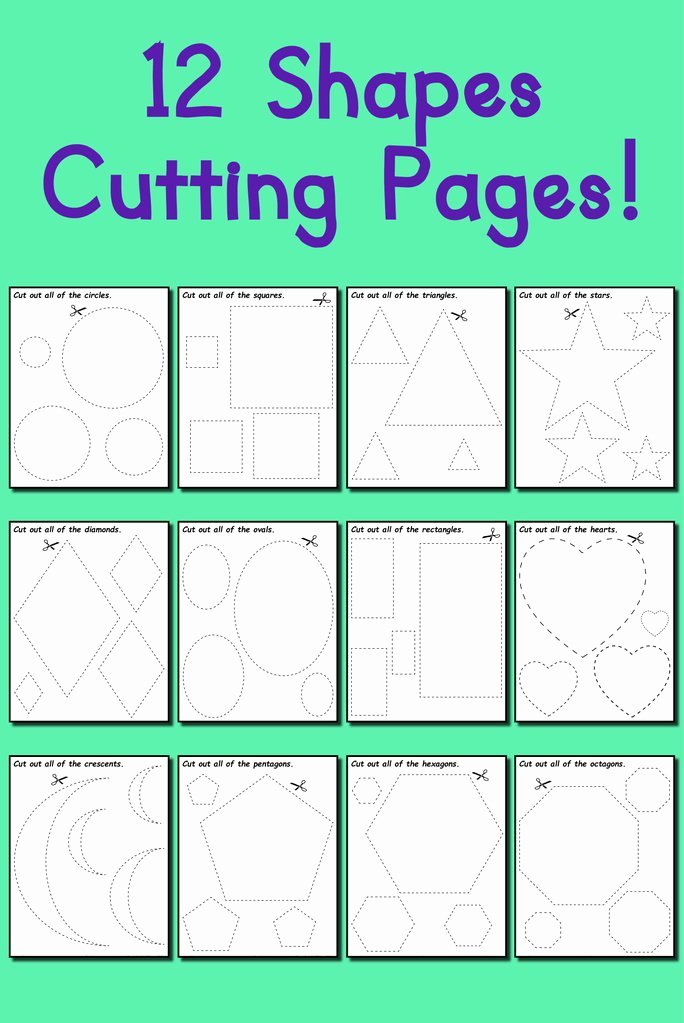 Cutting Shapes Worksheets for Preschoolers New 12 Printable Shapes Cutting Worksheets