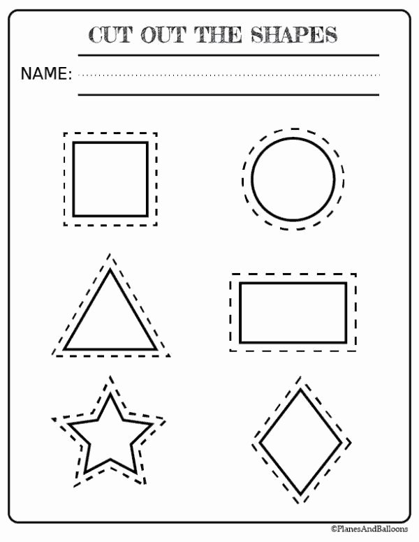 Cutting Shapes Worksheets for Preschoolers top Free Printable Shapes Worksheets for toddlers and