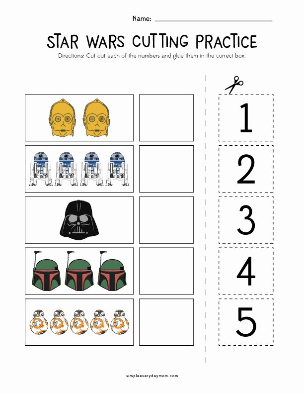 Cutting Skills Worksheets for Preschoolers Inspirational Star Wars Cutting Practice Worksheets for Early Learners