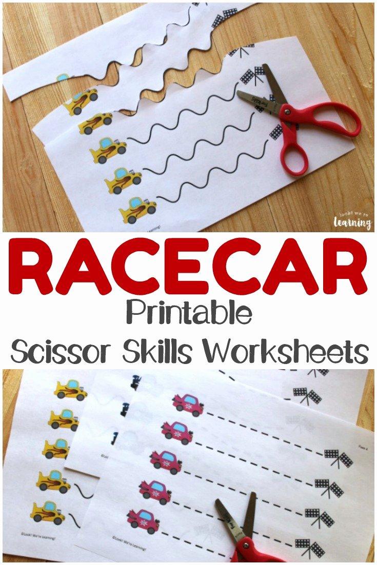 Cutting Skills Worksheets for Preschoolers Lovely Racecar Scissor Skills Printables Look We Re Learning