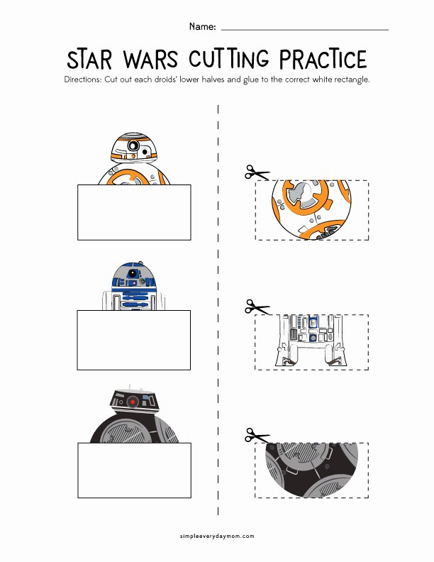 Cutting Skills Worksheets for Preschoolers New Star Wars Cutting Practice Worksheets for Early Learners