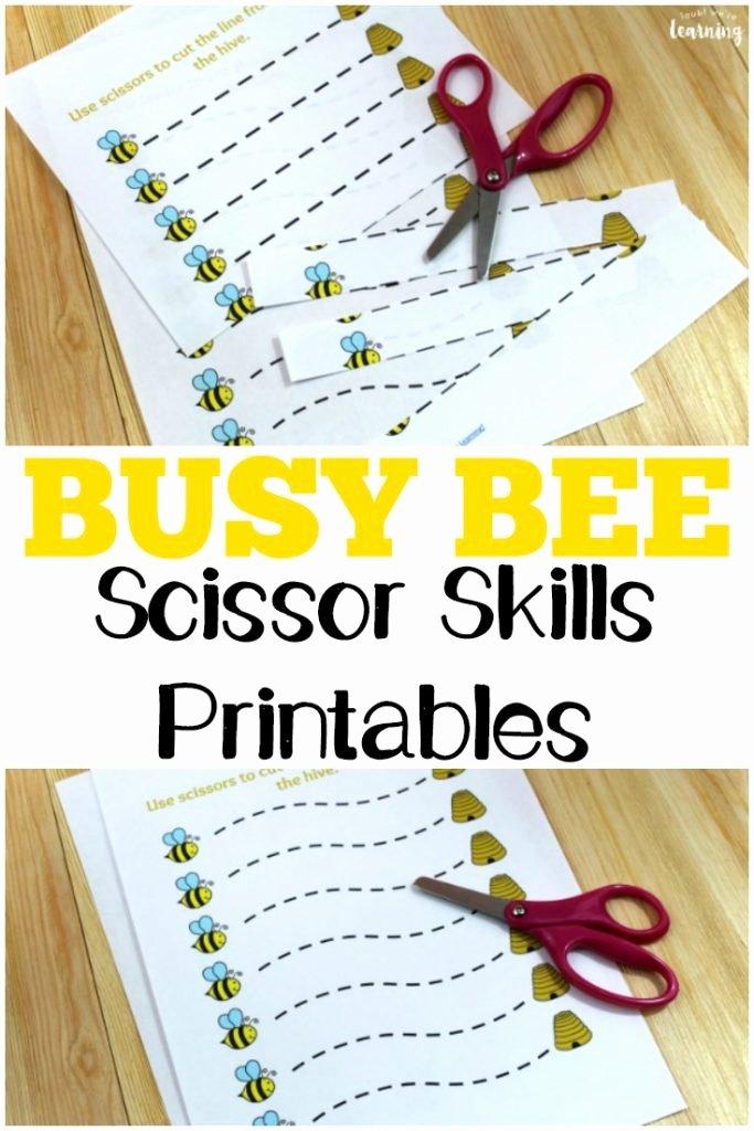 Cutting Skills Worksheets for Preschoolers top Free Busy Bee Scissor Skills Worksheets