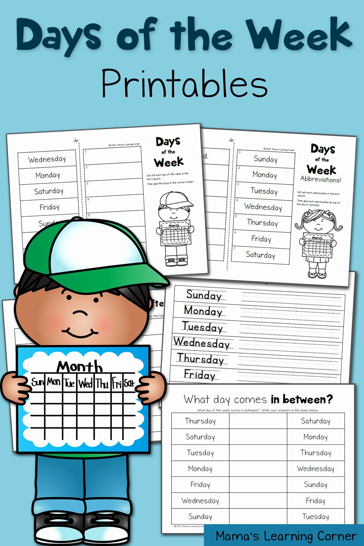 Days Of the Week Worksheets for Preschoolers Awesome Days Of the Week Worksheets Mamas Learning Corner