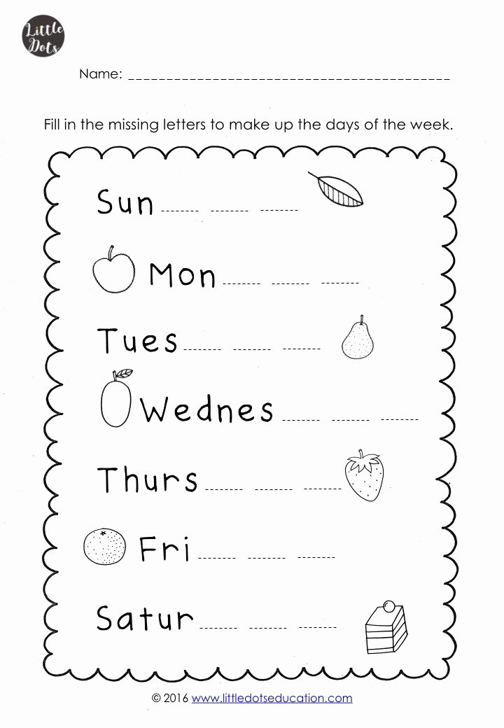 Days Of the Week Worksheets for Preschoolers Awesome the Very Hungry Caterpillar theme Free Days Of the Week