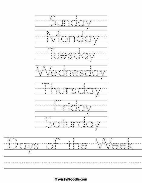 Days Of the Week Worksheets for Preschoolers Beautiful Days Of the Week Worksheet
