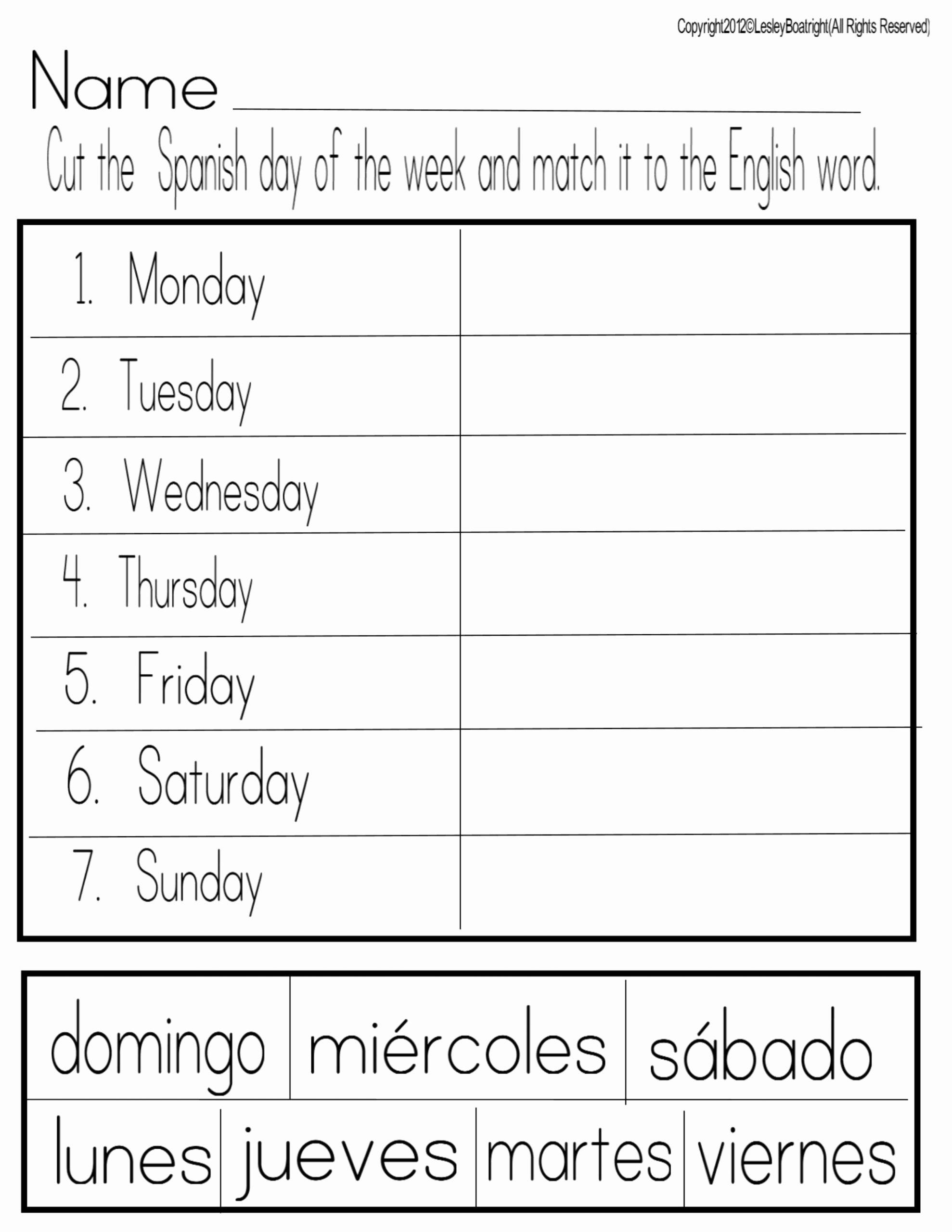 Days Of the Week Worksheets for Preschoolers Fresh Math Worksheet Newsflog Page Days the Week Worksheet