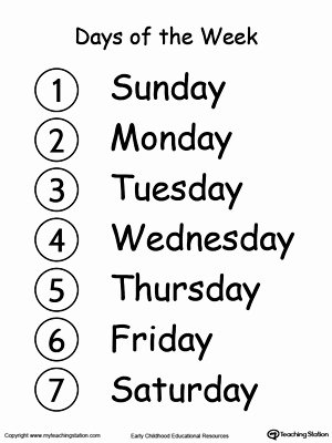 Days Of the Week Worksheets for Preschoolers Inspirational Learn the Days Of the Week
