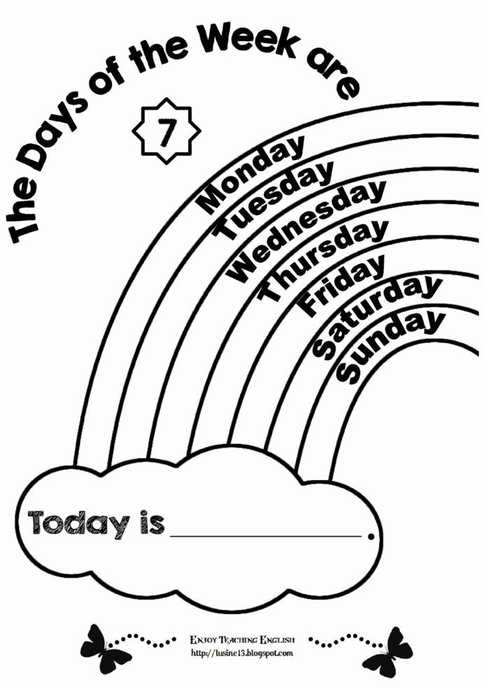 Days Of The Week Worksheets For Preschoolers Inspirational Worksheet  Kindergarten English Worksheets Free Printables – Printable Worksheets For  Kids