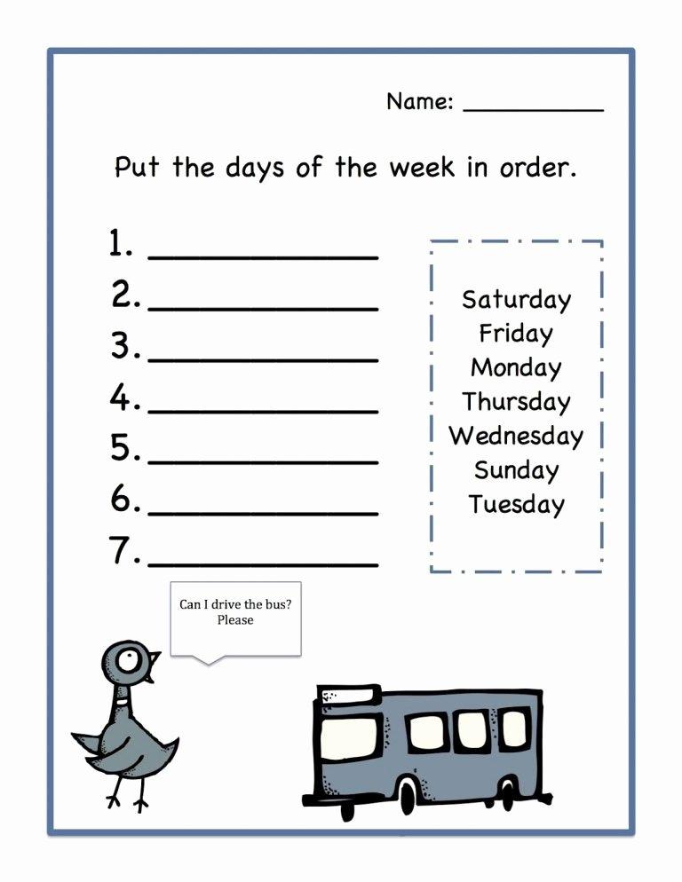 Days Of the Week Worksheets for Preschoolers Lovely Days Of the Week Worksheets