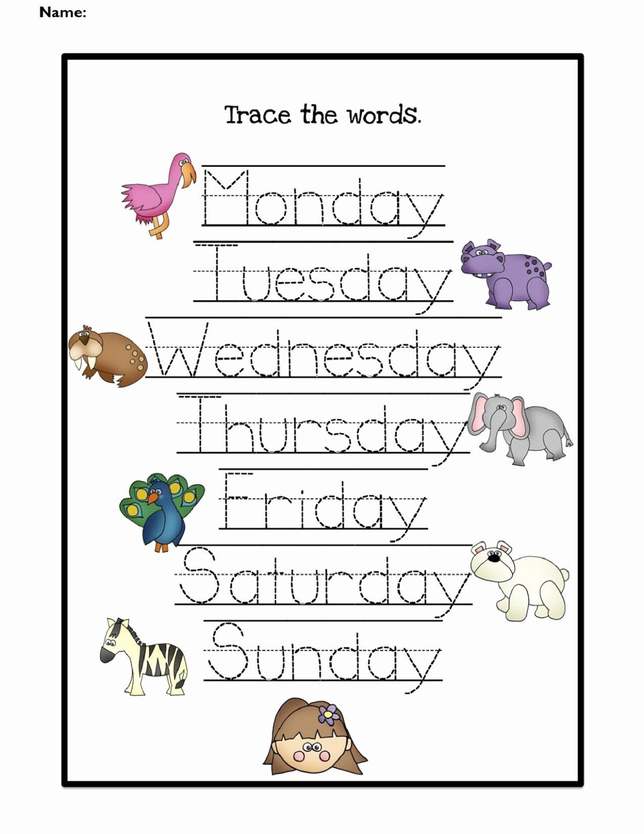 Days Of the Week Worksheets for Preschoolers New Kindergarten Days the Week Matching Worksheet