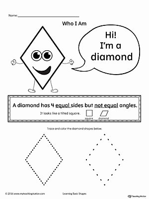 Diamond Worksheets for Preschoolers Awesome Learning Basic Geometric Shape Diamond