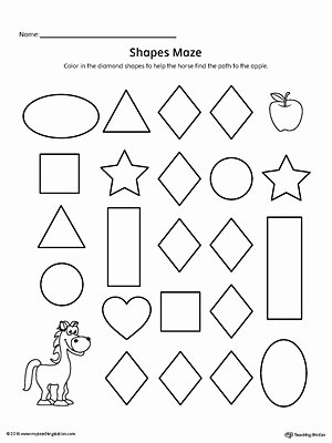 Diamond Worksheets for Preschoolers Beautiful Diamond Shape Maze Printable Worksheet