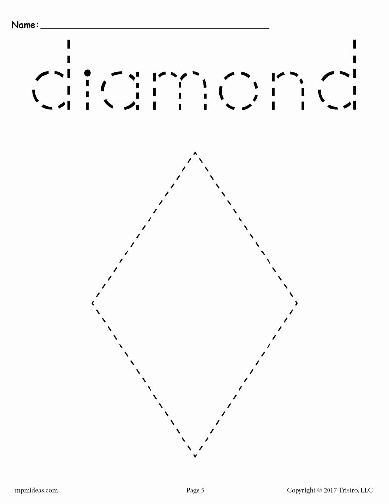 Diamond Worksheets for Preschoolers Beautiful Diamond Tracing Worksheet