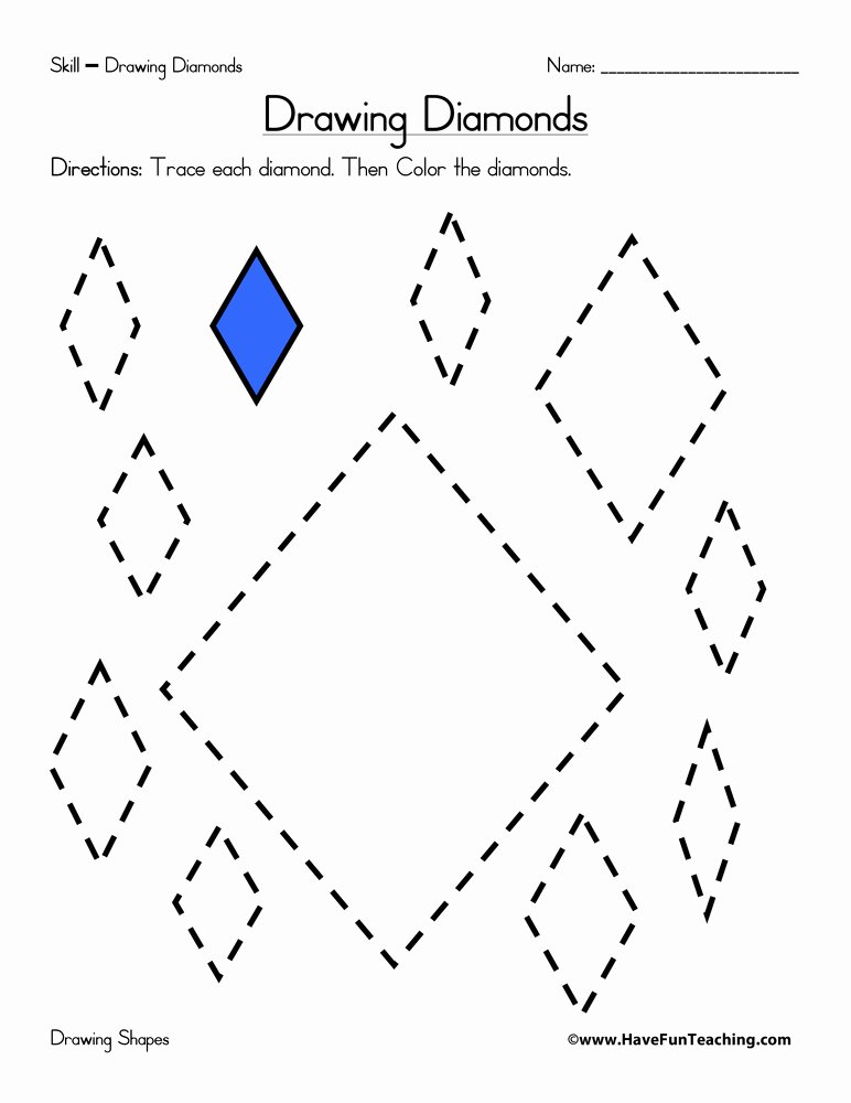 Diamond Worksheets for Preschoolers Beautiful Drawing Diamonds Worksheet