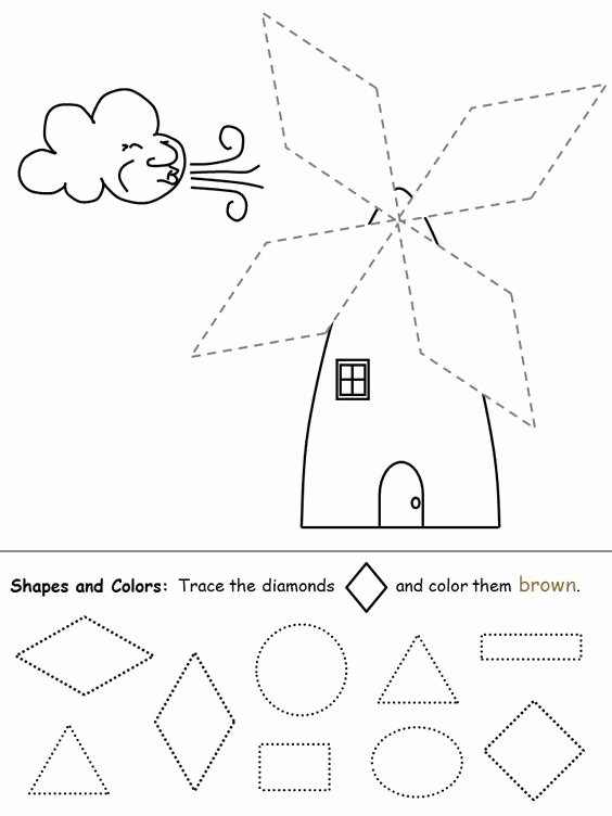Diamond Worksheets for Preschoolers Lovely Shapes Recognition Practice Worksheet Diamond