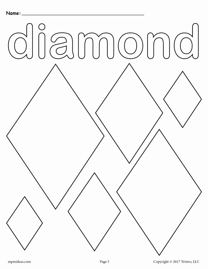 Diamond Worksheets for Preschoolers top Diamonds Coloring Page