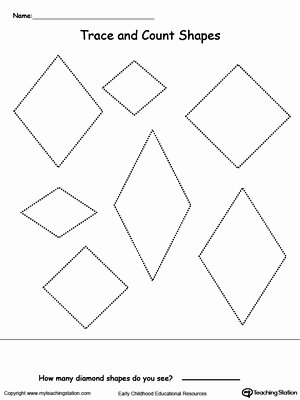 Diamond Worksheets for Preschoolers top Trace and Count Diamond Shapes