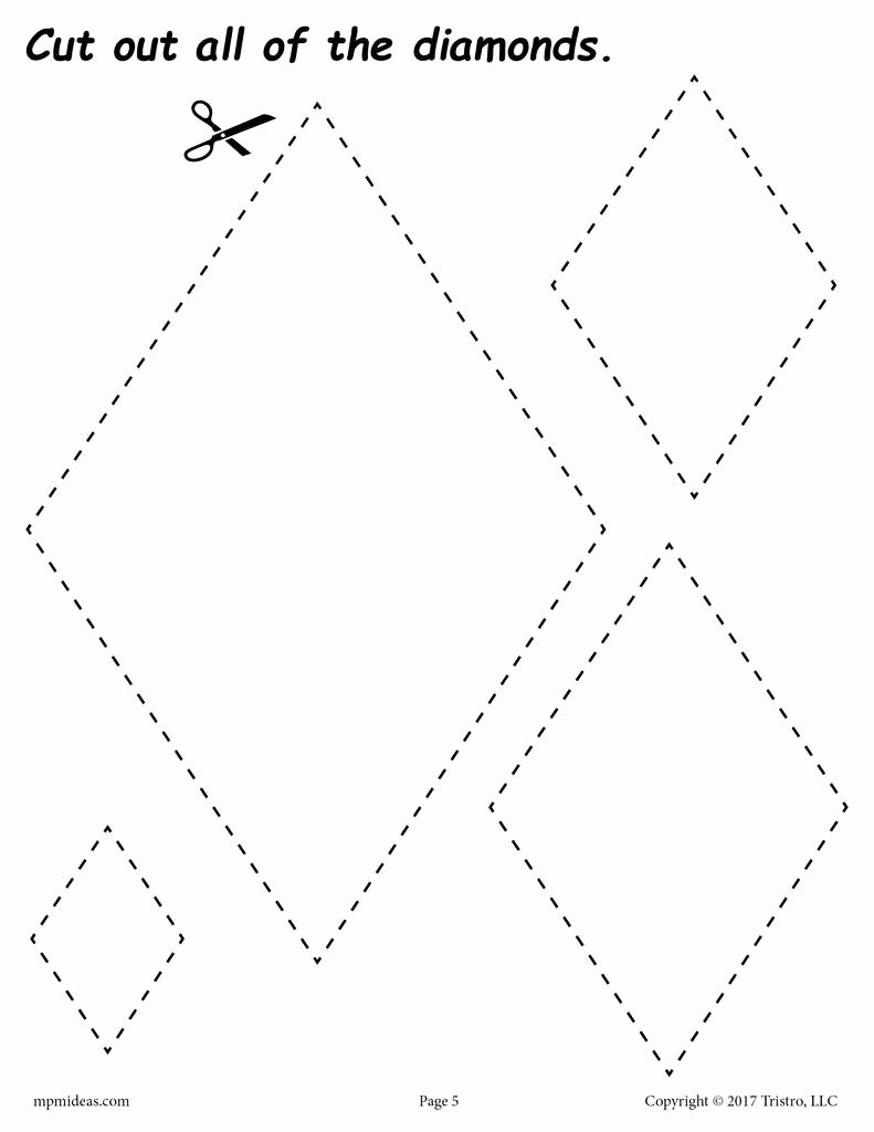 Diamond Worksheets for Preschoolers Unique Diamonds Cutting Worksheet