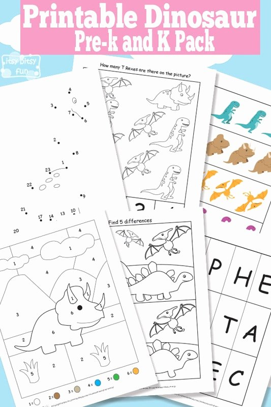 Dinosaur Worksheets for Preschoolers Fresh Dinosaur Printable Preschool and Kindergarten Pack