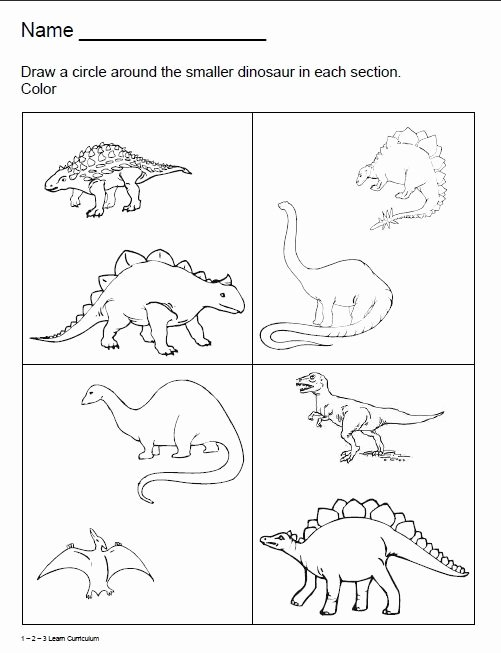 Dinosaur Worksheets for Preschoolers Lovely 1 2 3 Learn Curriculum Dinosaur Worksheets