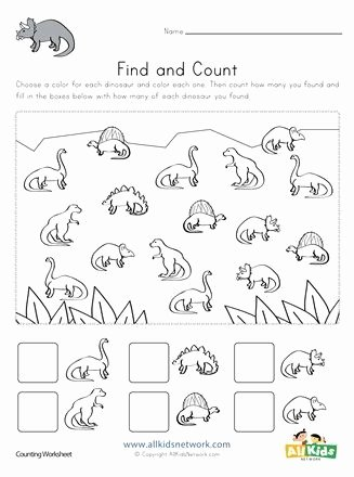 Dinosaur Worksheets for Preschoolers top Dinosaur Find and Count Worksheets