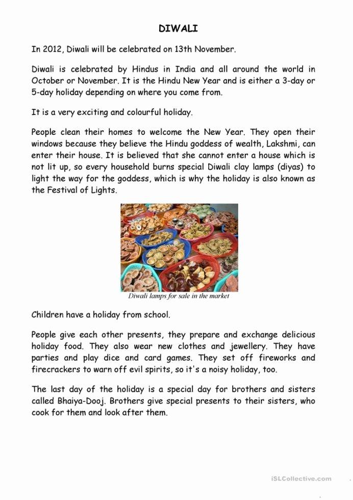 Diwali Worksheets for Preschoolers Best Of Diwali English Esl Worksheets for Distance Learning and