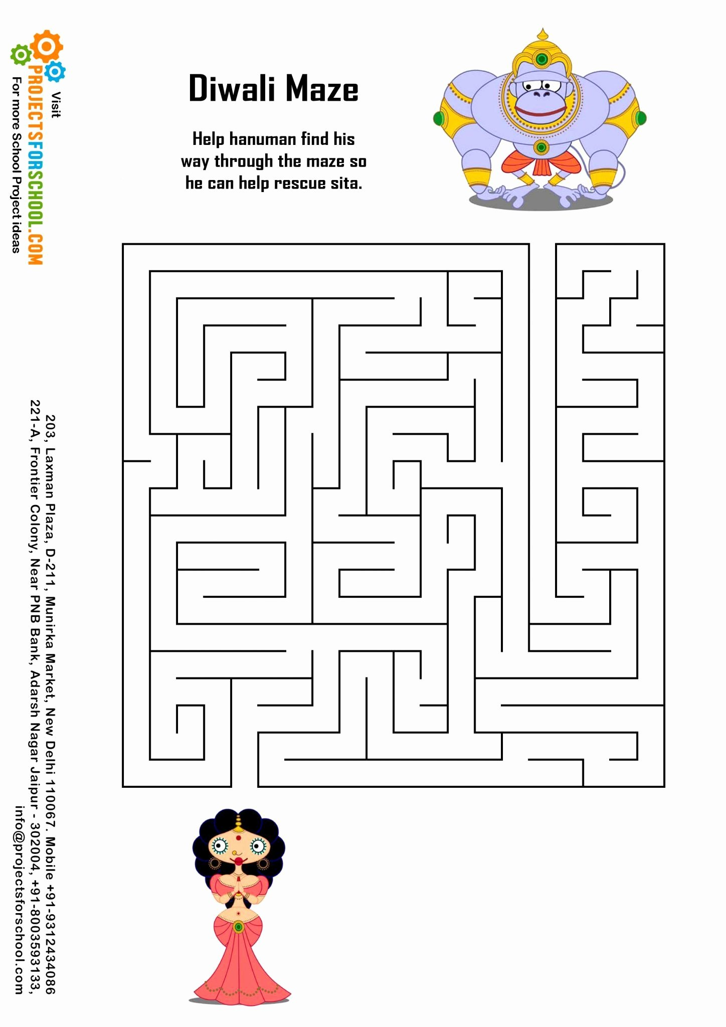 Diwali Worksheets for Preschoolers Inspirational Kids Science Projects Diwali Maze Free