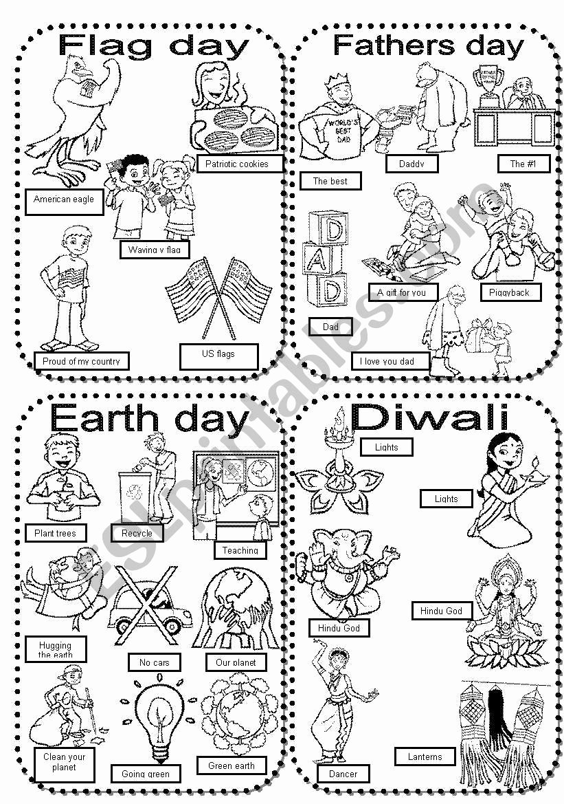 Diwali Worksheets for Preschoolers New Celebrations 6 Flag Day Fathers Day Earth Day Diwali Esl