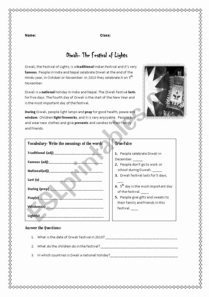 Diwali Worksheets for Preschoolers New Diwali Festival Reading Esl Worksheet by Ironik