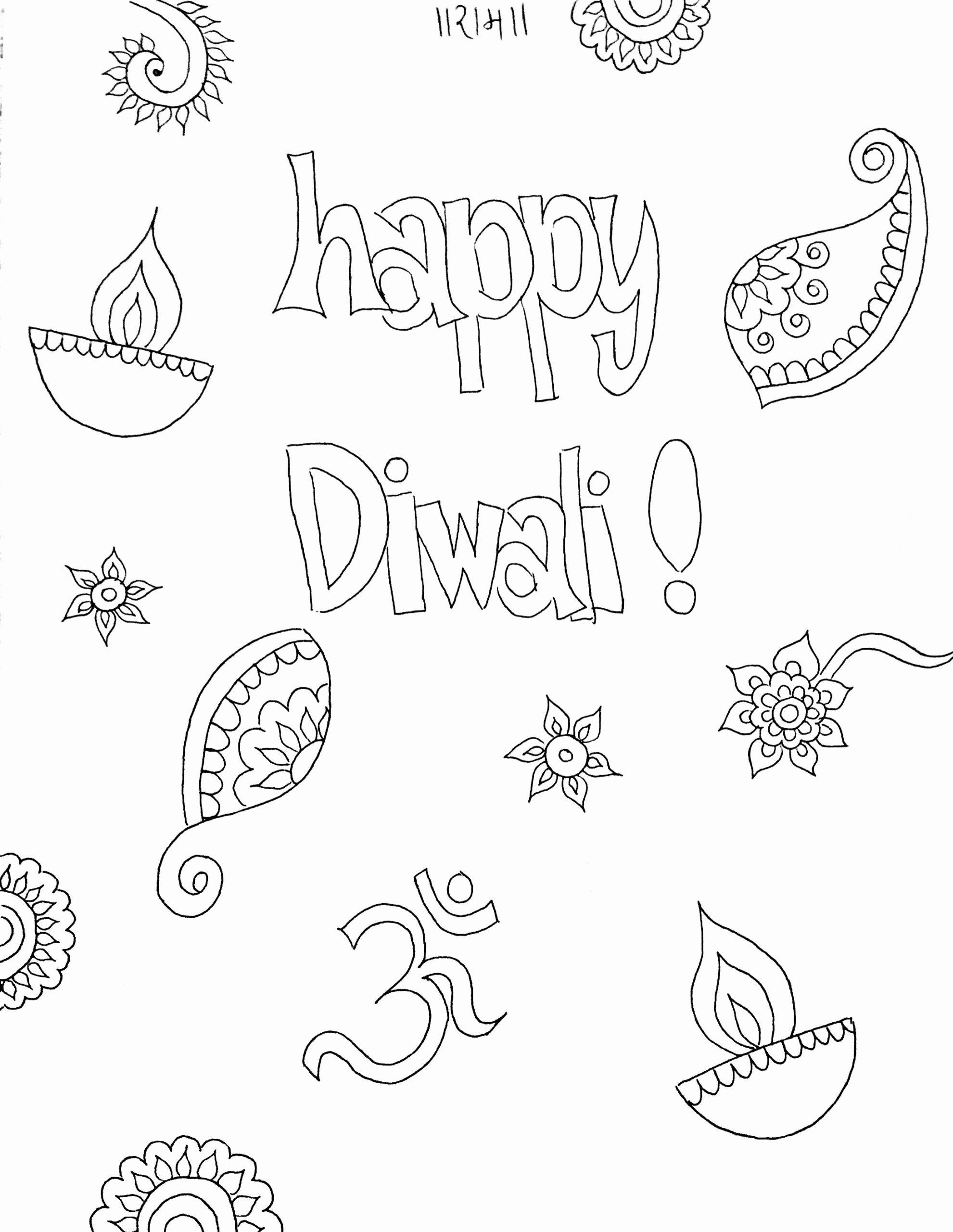 Diwali Worksheets for Preschoolers Unique Diwali Coloring Sheet for Kids