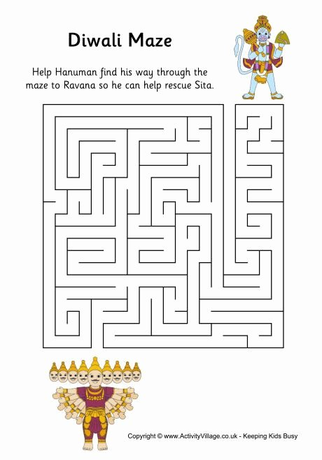 Diwali Worksheets for Preschoolers Unique Diwali Maze with Images