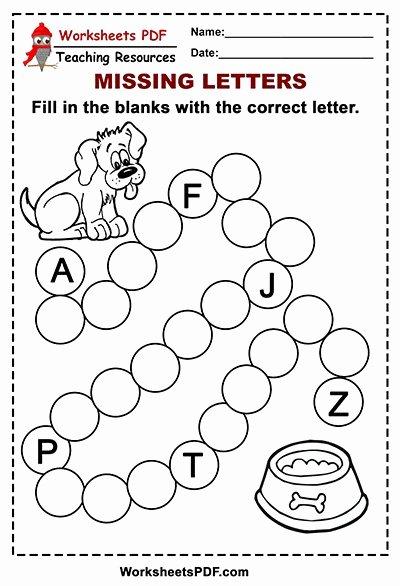 Dog Worksheets for Preschoolers Fresh Free Printable Dog Alphabet – Missing Letters Worksheets Pdf