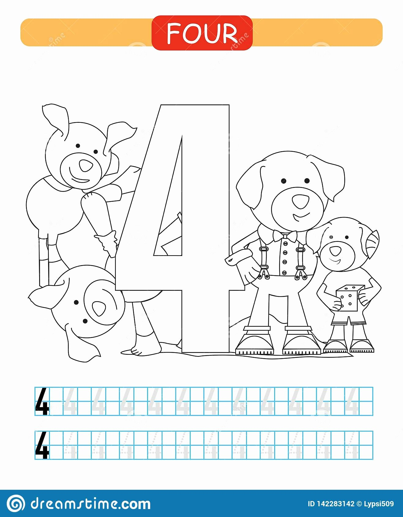 Dog Worksheets for Preschoolers Unique Four Learning Number 4 Coloring Printable Worksheet for