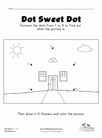 Dot to Dot Worksheets for Preschoolers New Connect the Dots From 1 5 Worksheet