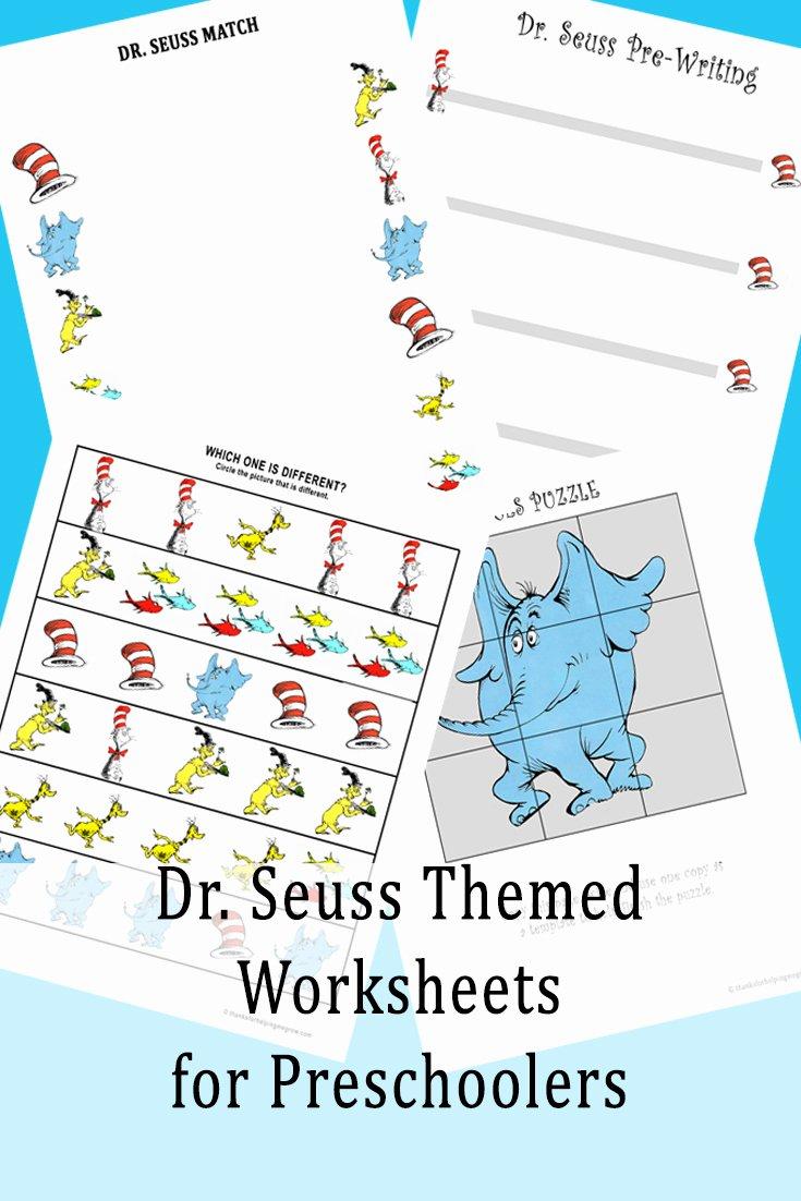 Dr Seuss Worksheets for Preschoolers Best Of Dr Seuss themed Worksheets for Preschoolers