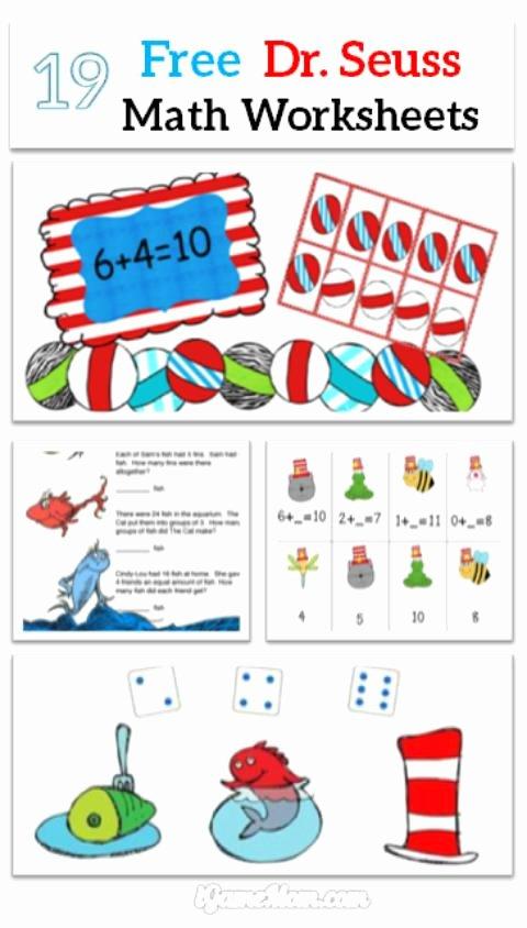 Dr Seuss Worksheets for Preschoolers Lovely Dr Seuss Printables Math Kindergarten Worksheets Preschool