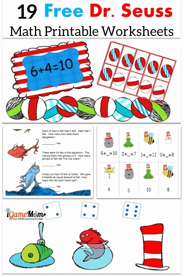 Dr Seuss Worksheets for Preschoolers New Free Dr Seuss Math Printable Worksheets for Kids Preschool