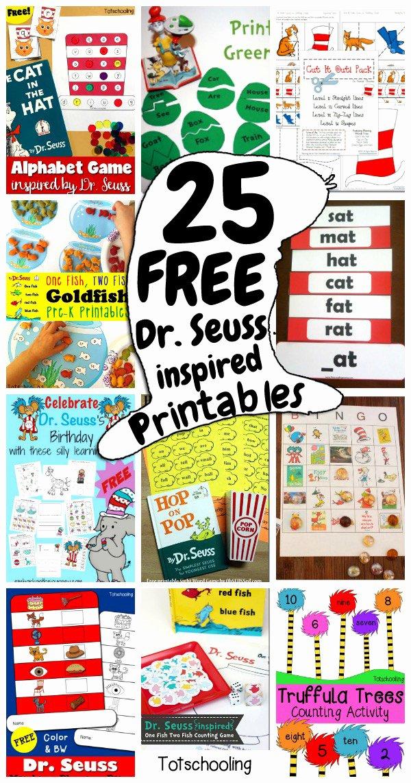 Dr Seuss Worksheets for Preschoolers Unique 25 Free Dr Seuss Inspired Printables for Kids
