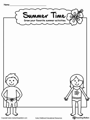 Drawing Worksheets for Preschoolers New Drawing Summer Activities Printable Worksheet