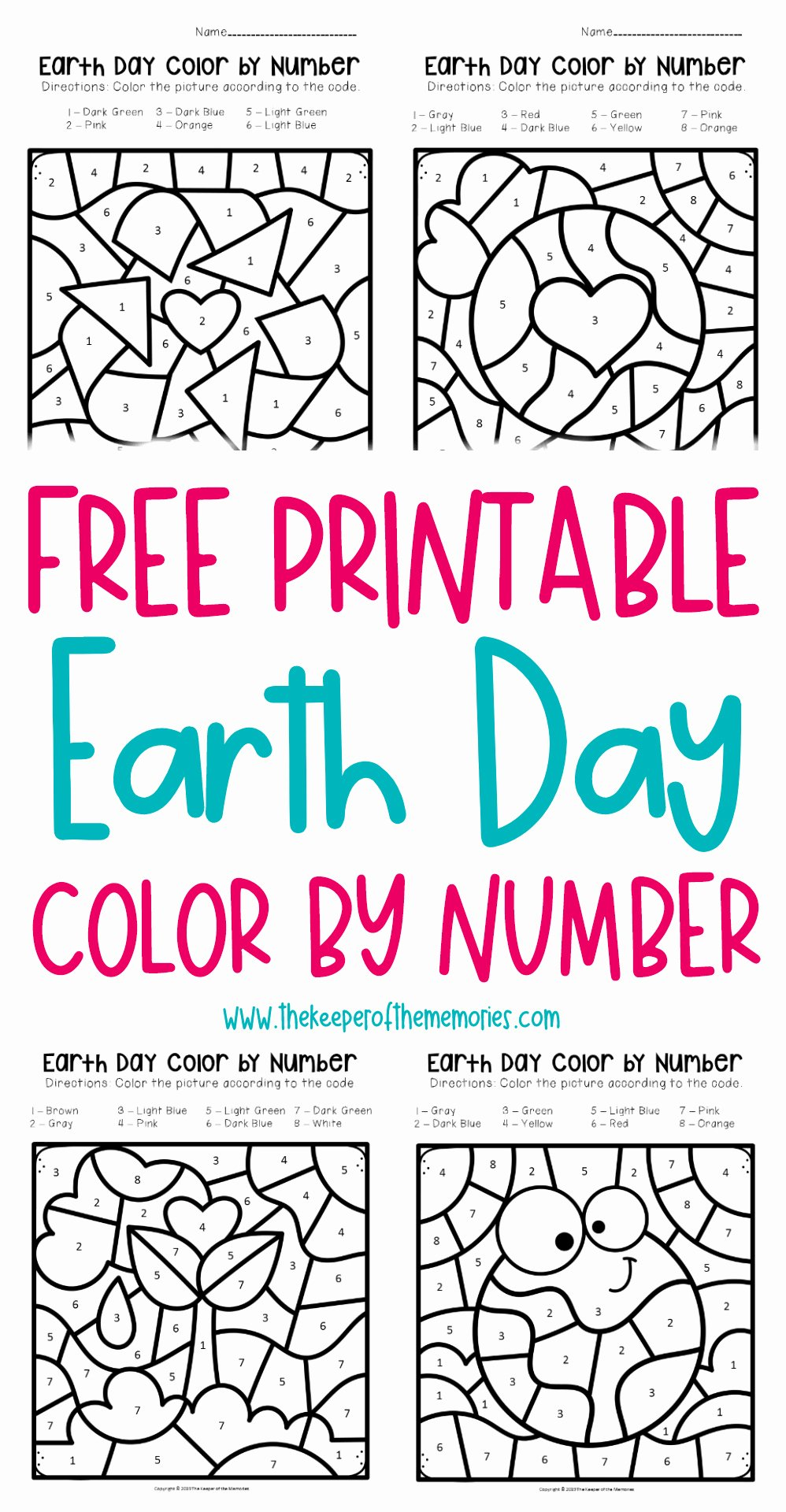 Earth Day Worksheets for Preschoolers Best Of Free Printable Color by Number Earth Day Preschool
