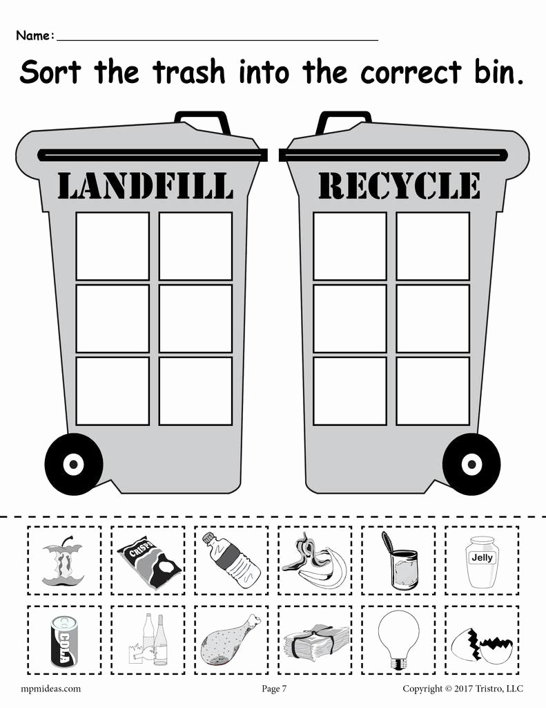 Earth Day Worksheets for Preschoolers New sorting Trash Earth Day Recycling Worksheets 4 Printable Versions