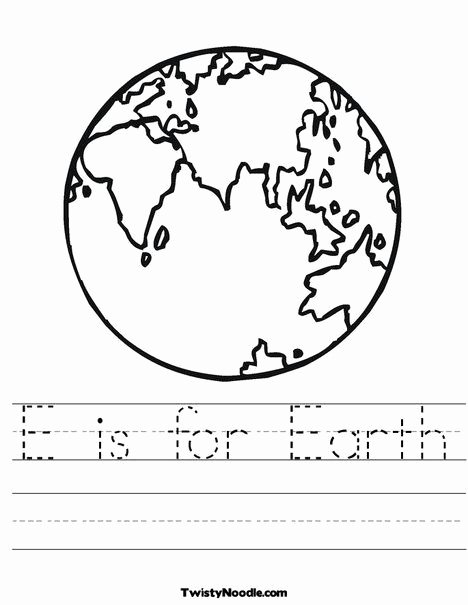 Earth Worksheets for Preschoolers Inspirational E is for Earth Worksheet