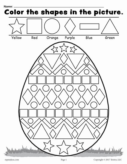Easter Worksheets for Preschoolers Unique Easter Egg Shapes Worksheet & Coloring Page