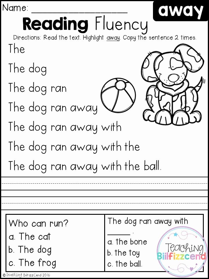 Easy Reading Worksheets for Preschoolers Awesome Free Kindergarten Reading Fluency and Prehension Set 1