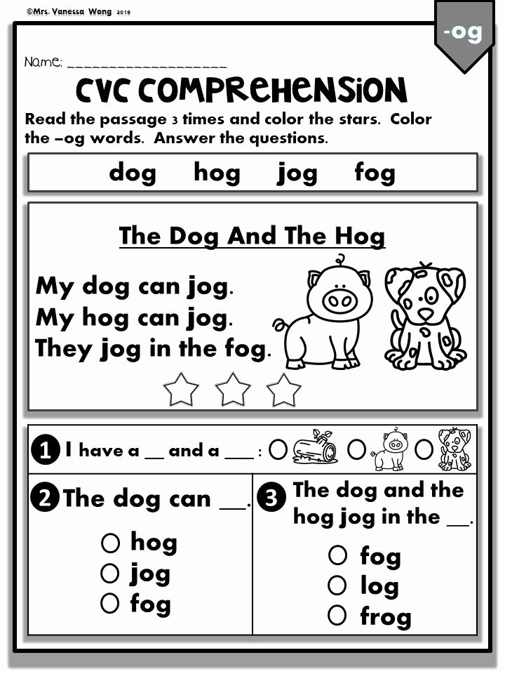 Easy Reading Worksheets for Preschoolers Best Of Phonics Worksheets Cvc Prehension Early Readers