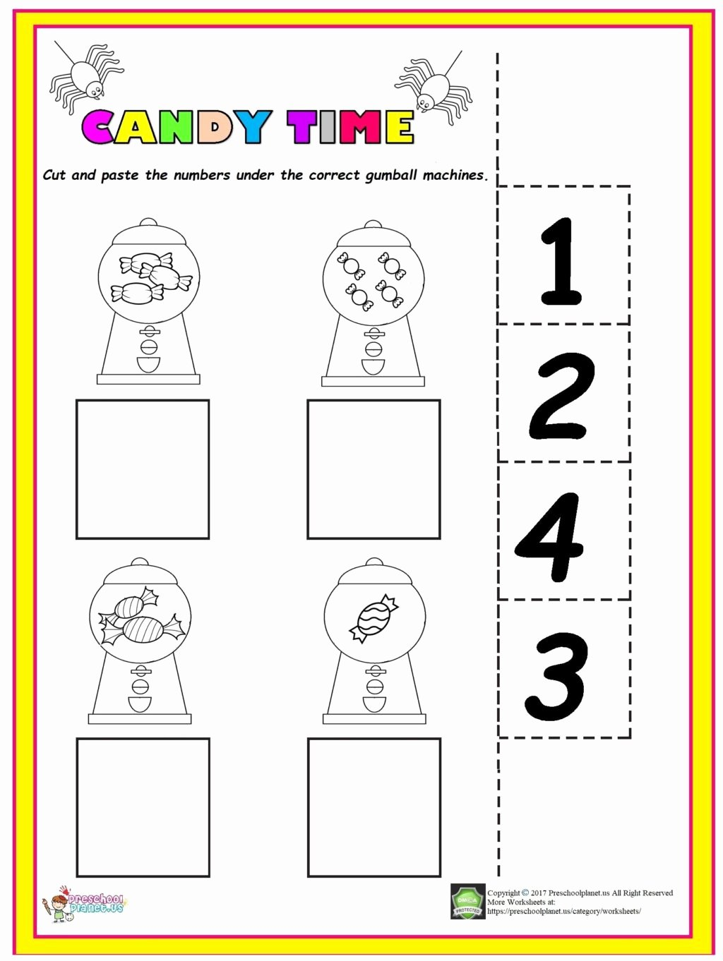 Easy Worksheets for Preschoolers Awesome Worksheet Easy Candy Counting Worksheet Preschool Homework