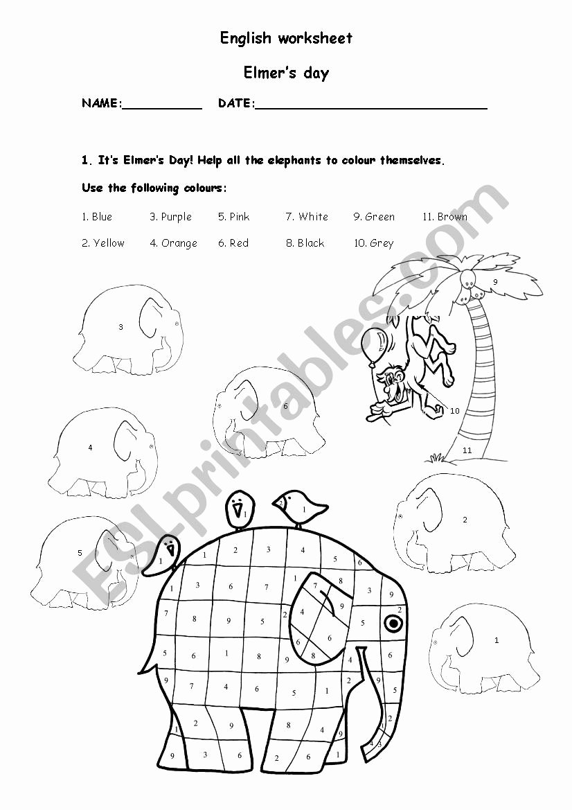 Elephant Worksheets for Preschoolers Awesome Elmer´s Colours Esl Worksheet by Cabrita Elmer the Elephant
