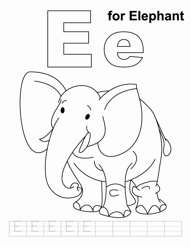 Elephant Worksheets for Preschoolers Awesome for Elephant Coloring with Handwriting Practice Preschool