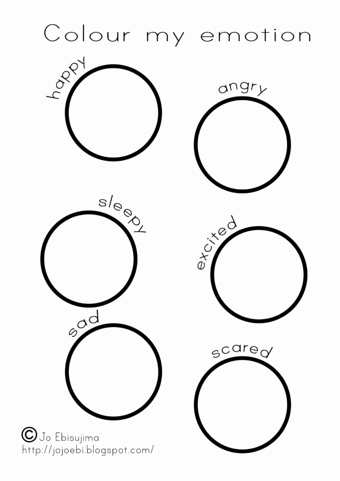 Emotion Worksheets for Preschoolers Beautiful Colour My Emotion Emotions Color Feelings Worksheets for